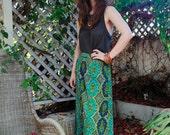 70s paisley brocade, long, Maxi, floor length skirt, boho, bohemian, gypsy, Hippie, folk, ethnic hi waisted festival
