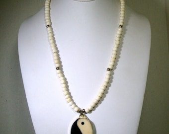 OxBone Yin Yang, Yang Yin Pendant Necklace, In Every Good There is Bad, In Every Bad There is Good, Vintage Beads By Rachelle Starr