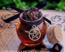 WITCH'S CAULDRON Rich Resin Gemstone Incense w/ Bronze Pentacle in Fiery Orange Honey Pot Jar - Power Spell Casting, Samhain, Ancestor Call