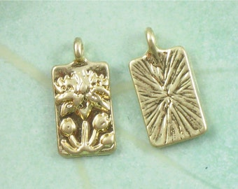 12 gold Lotus Flower charms. 2 sided. 16mm x 8.5mm (GT7g)