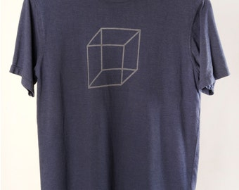 Men's T shirt Organic Bamboo Orgainc Cotton Cube Design t shirt Charcoal Blue by Maude Andrade