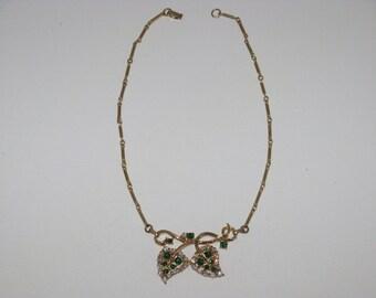 Vintage Emerald Green and Clear Rhinestone Leaf Necklace (N-1-4)