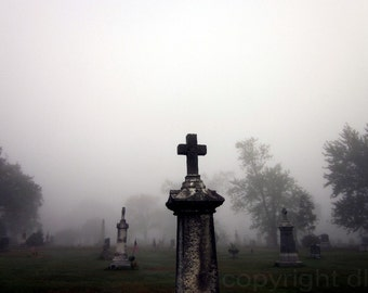 Foggy Cemetery Graveyard 5x7 photo art print. Misty morning. Halloween or everyday decor.