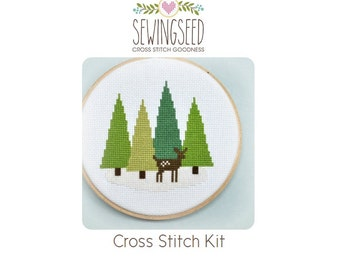 Cross Stitch Kit, Deer in the Forest, Woodland Winter, Hand Embroidery Kit, DIY Kit