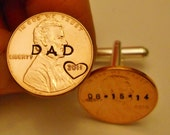 Custom DAD Cuff Links: Fathers Day, Birthday, Grandpa; Stamped Penny Cufflinks; Personalized Mens, Initials/Dates; 1959-2016; Hearts Option