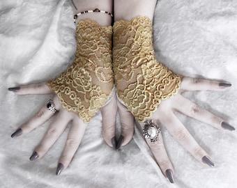 Eiryn Lace Fingerless Gloves - Gold Mustard Yellow Floral Fishnet - Victorian Wedding Gothic Vampire Fetish Belly Dance Goth Bohemian Bridal