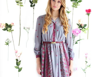 Lydia, Vintage, 1970s Grey Floral Paisley Long Sleeved Midi Dress