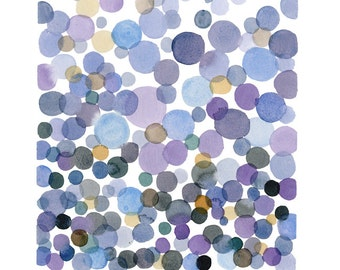 Sale Abstract painting Watercolor painting purple lavender bubbles dots original little zen painting abstract art