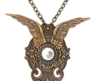 Archangel Wings Fantasy Necklace in Ox Brass and White Swarovski Crystal by Dr Brassy Steampunk