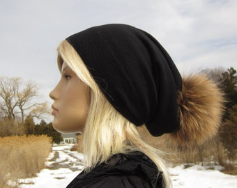 Black Cashmere Hat Fur Pom Pom Beanie Slouchy Beanies Bobble Tam, Designer Hats By Vacation House A49 POM