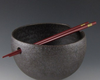 Made To Order - Matte Black Noodle Bowl with Chopsticks