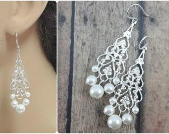 Pearl Bridal Earrings, Chandelier Earrings, Bride Silver Earrings, Long Pearl Earrings, Bride Earrings, Long Earrings, Lightweight Earrings