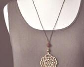 boho beaded wooden medallion necklace