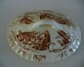Antique Aesthetic Brown Transferware Lid Small Serving Dish Cover Powell Bishop Stonier PBS Oriental Ivory Made in England ShipsWorldwide