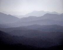 Mountain Landscape Photography Lavender Navy Gray Photograph Woodland, Misty Rustic Moody Modern Art, Smokey Mountains, Appalachians