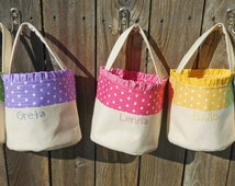 Personalized Easter Basket HANDMADE in Polka Dot / Pink Blue Green Yellow Purple /  Canvas Easter Basket for Girl or Boy