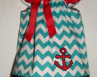Anchor Chevron Dress / Aqua Blue Chevron / Nautical / Red / Newborn / Infant / Infant / Toddler / Baby / Girl / Custom Boutique Clothing