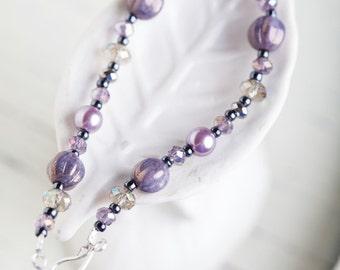 Lavender Purple Bracelet, Purple, Purple Bracelet, Lavender Bracelet, Purple Pearl Bracelet, Lavender Pearl Bracelet, Purple Silver Bracelet
