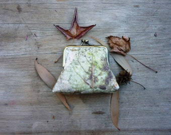 Forest floor purse, large woodland clutch, 8 inch frame clutch, leaf clutch, nature purse, fall autumn purse, botanical handbag