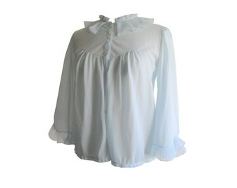 Bed Jacket Pastel Blue 1950s Size Medium