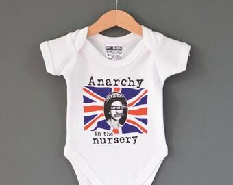 Punk baby Anarchy in the Nursery baby onesie. Alternative infant Bodysuit / Babygrow for Punk Rock baby