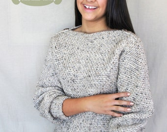 Crochet Pattern: The Autumn Sweater-6 Sizes Child XS, Sm, Med; Adult XS, Sm, Med-fall, chunky, warm, tweed, boatneck, button