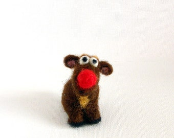Needle Felted miniature reindeer with a red nose Christmas decoration