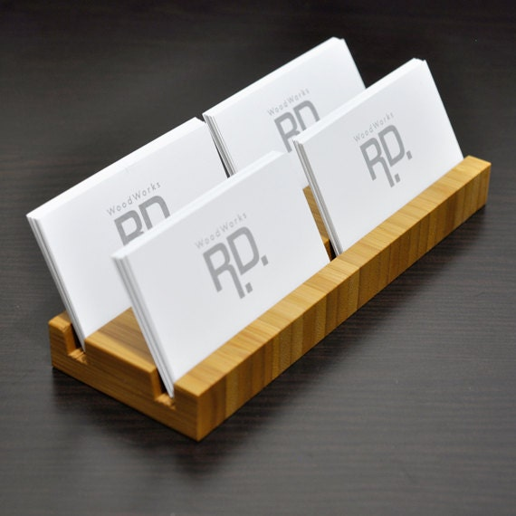 Multiple Business Card holder Bamboo 4 Slots by woodworksRD
