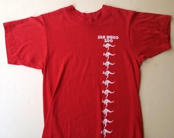 70s Vintage San Diego Zoo Kangaroo T-Shirt - SMALL 34-36