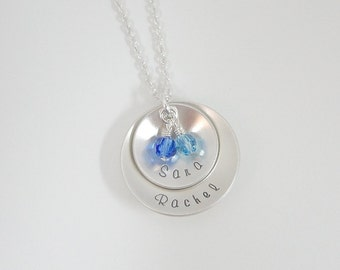Hand Stamped Mommy Necklace - Sterling Silver Layered Disc Necklace with Swarovski Birthstones - Domed Disc - Personalized Custom Jewelry