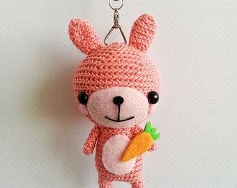 Crochet Rabbit Keychain, Crochet Bunny, Rabbit Amigurumi Doll, Cute Bag Charm, Cute Rabbit Keychain, Cute Valentines Gift, Gift for her