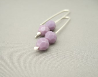 Mauve Opaque Czech Glass Sterling Silver Contemporary Earrings