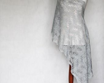 Gray scarf, hand knit shawl, lace shawl, knit scarf, shawl wrap, women shawl, silver shawl, shawl payette, wedding scarf, women accessories