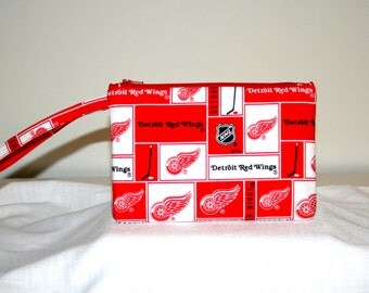 Detroit Redwings Wristlet Cross Body Bag iPhone Bag, Small Tech Bag Cosmetic Bag