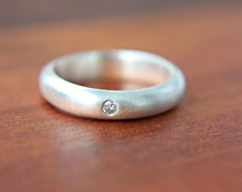 Diamond Silver Wedding Band 4mm Low Dome Sterling Silver Ring - Made in Your Size Wedding Ring Handcrafted Silversmith Metalsmithed