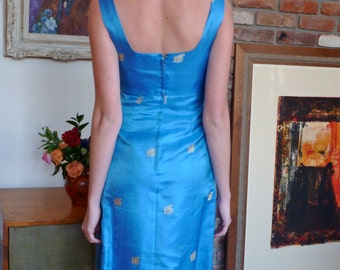 1960s  Custom Made Cocktail Dress Periwinkle Blue Asian Silk Jacquard Bolero Cropped Jacket
