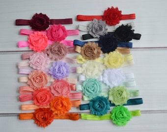 Pick 10 Baby Headbands, Skinny or Thick elastic, shabby chic headband, headband set, newborn headbands, infant headband, hair bow, Baby girl