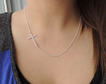 Sideways Cross Hammered Silver Necklace • Long Skinny Cross in center or side • Religious Celebrity-adored Everyday Jewelry Gift for Her