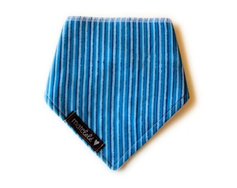 Baby bandana bib -  Blue and light blue stripes - newborn - baby gift -  Handmade in Canada 000-121F