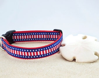 """Patriotic, Red White Blue, Stars Stripes, US Flag Dog Collar, July 4th 1"""" Wide"""