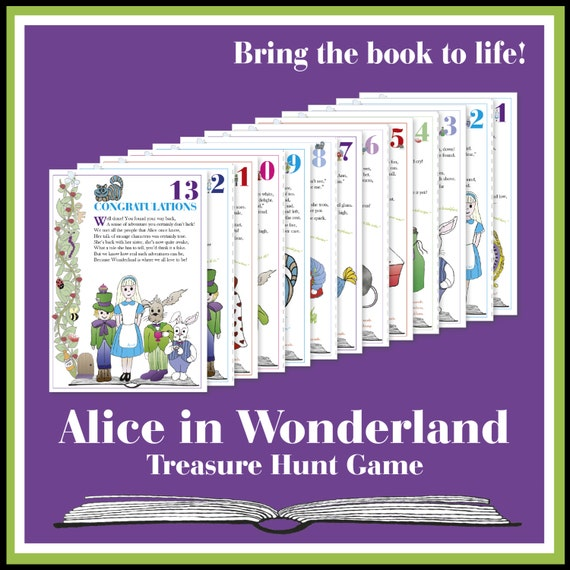 Scavenger Hunt List >> Alice in Wonderland Treasure Hunt Game by MishyDee on Etsy
