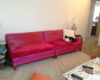 Mid Century Modern Couch, 1950's Bright Pink two piece sectional MOD!