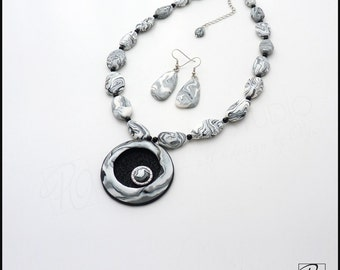 Set Necklace and Earrings Black and White, Polymer Clay Jewelry Stone Imitation Marble. Modern Jewelry. Designer Jewelry. Ready to ship.