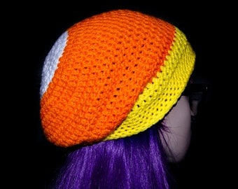 Candy Corn Slouchy Beanie / Ready to Ship!