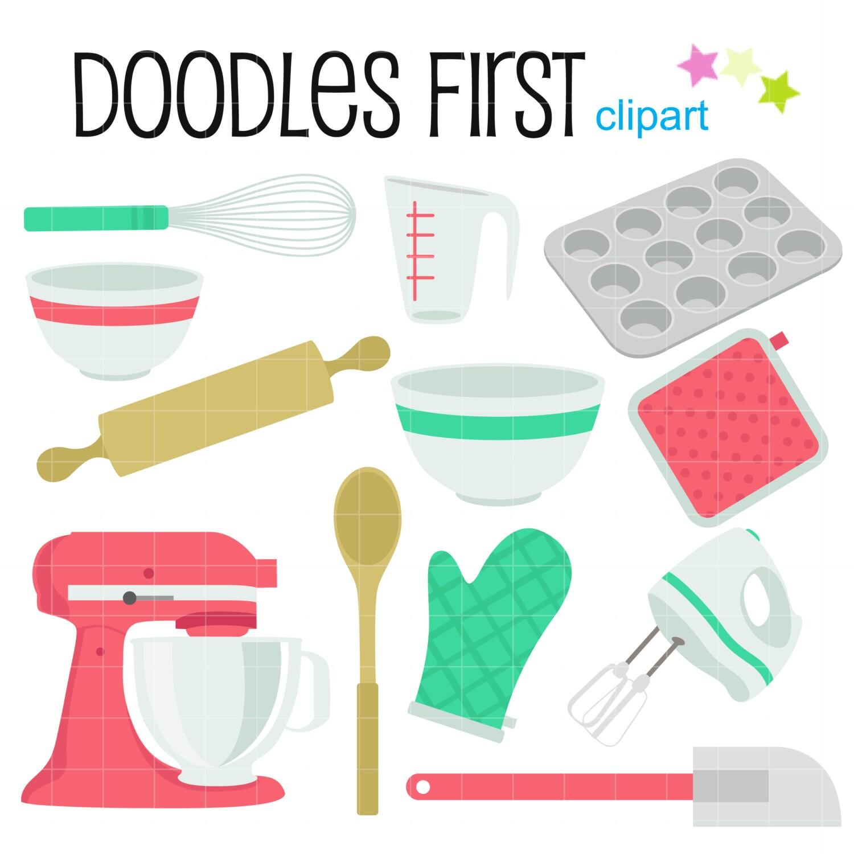 Kitchen Equipment Clip Art ~ Baking equipment kitchen objects digital clip art for