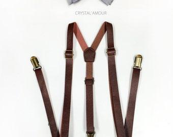 Brown Suspenders, brown leather suspenders, silver/gray bowtie set, Men's Suspenders, Barnyard Wedding, Groomsmen, Wedding Photography