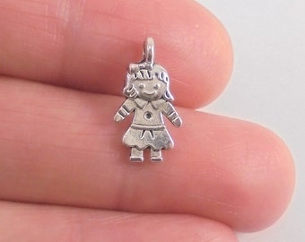 10 Doll or Little Girl charms, 16x9mm, antique silver finish