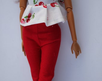11.5 inch dolls clothes - outfit: Cherry top and red pants (37)