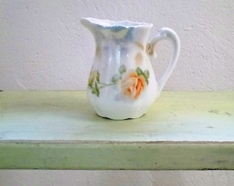 Vintage Lusterware Creamer, Floral Porcelain Cream Jug, Germany,  1940s