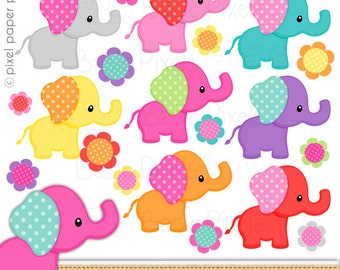 Girly elephant clipart - Digital Clip Art - Personal and commercial use